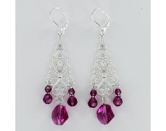 SWAROVSKI DANGLE EARRINGS - Fuchsia Hot Pink Swarovski Crystals