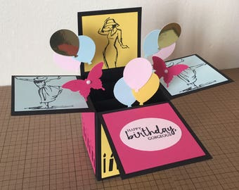 Handmade Card in a box, Luxury Happy Birthday, congratulations pop up card/3D greeting card.