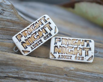 Fright Night Tickets!- Handmade Porcelain Bead Pair