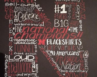 Hand-Painted Husker Football Chalkboard Poster Collages