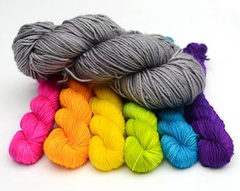 Rainbow mini skeins and neutral gray - Hand dyed mini sock yarn skeins