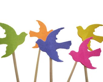 24 Bird Cupcake Toppers, Dove Party Picks, bright colors - No426