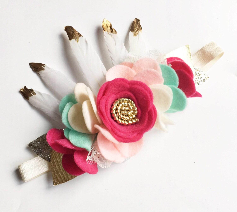 Boho baby headband baby flower crown wild one birthday zoom izmirmasajfo Gallery