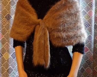 HAND KNIT CASHMERE long-fur tie capelet 1950s 50s xs S M