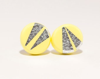SILVERCONFETTIE CIRCLE STUDS - Bright Yellow - Polymer Clay Earrings