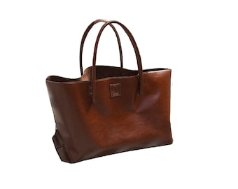XXL Leather Shopper Bag carry Bag XXL shopper big leather bag cool bag for wholesale shopping bag cognac used look handmade