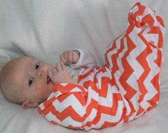 Orange chevron knit swaddle blanket. Soothing blanket. Stroller blanket. Lightweight summer swaddler. receiving