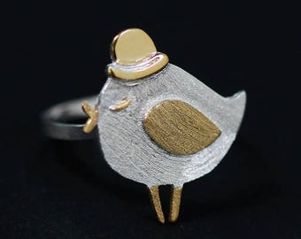 A pretty ring in 925 sterling silver and gold plated adjustable and its Songbird 2 color choices