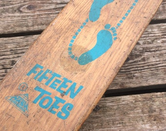 Skateboard Vintage Wooden Fifteen Toes By Nash 1960s