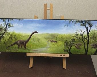 "6x18"" Original Oil Painting - Dinosaur Panorama Landscape Wall Art"