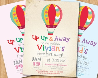 Hot air balloon birthday invitation up up and away birthday hot air balloon birthday invitation up up and away birthday party invite vintage filmwisefo Image collections
