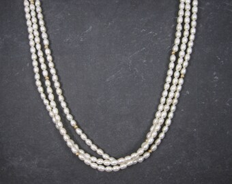 Vintage 14K 3 Strand Freshwater Pearls Necklace