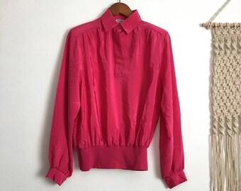 SALE Vintage pink blouse, long sleeve, size small s / medium m