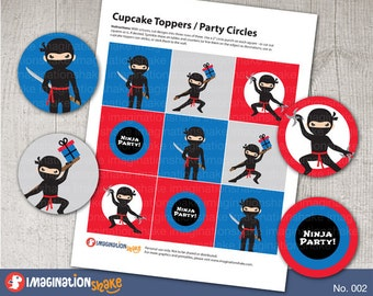Ninja Birthday Party Cupcake Toppers Party Circles PRINTABLE / Party Printables / Black Red Ninjas Decorations Boy's Birthday Set / No. 002