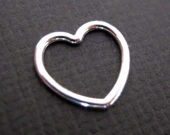 Large Open Heart Sterling Silver Charms - 4 pcs 16 mm