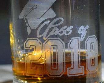 Class of 2018 Hand Made Etched Whisky/Drinking Glass A must Have!