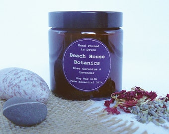 Rose Geranium & Lavender Soy Wax Candle with Essential Oils-Amber Jar 120ml