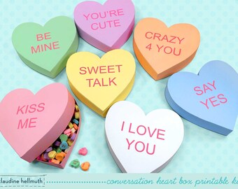 conversation heart gift boxes -  fits candy, cookies, favors and treats with customizable text  PDF kit - INSTANT download