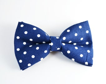 Navy with White dot bow tie, boy bow tie, baby bow tie, adult bow tie, men's bow tie, navy bow tie. polka dot bow tie