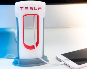 TESLA Supercharger Phone Charger - Cable Management Holder | Apple & Android iPhone Accessories | Fathers day | DAD | SpaceX Elon Musk | USB