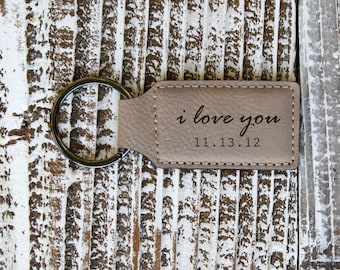 Light Brown Personalized Key Chain, Leather Engraved Key Chain, Couple Key Chain