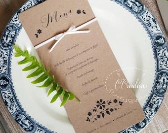 Menu { Flower Kraft } pour le jour J de votre mariage, baptême ou anniversaire