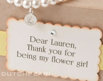Personalized kids jewelry FLOWER GIRL  bracelet with monogram  - baby girl pearl bracelet - flowergirl junior bridesmaid