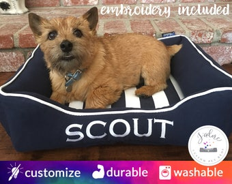 Navy & White Dog Bed or Cat Bed - Choose Size and Fabrics | Washable and Flippable | Sailor Nautical Blue and White
