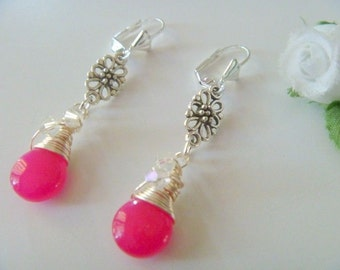 Handcrafted Pink Jade Gemstone Briolette Wire Wrapped Earrings