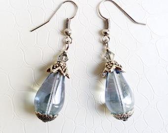 Earrings 'Jocaste' - Light blue Czech glass teardrop beads, Swarovski crystals - Boho chic, gift for her, something blue - Handmade jewelry