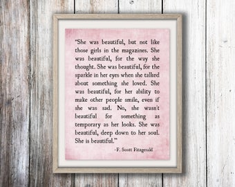 She Was Beautiful, F. Scott Fitzgerald Quote, Love Quote, Book Quote, Beautiful Quote, Beautiful and Damned, Literature Print Large Wall Art