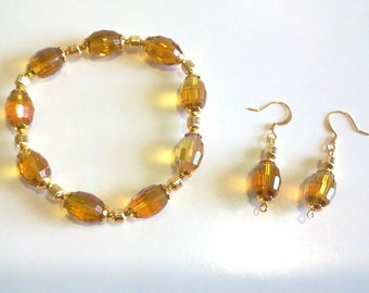 Amber Faceted Crystal Jewelry Set, Bracelet and Earrings, Citrine Color Statement Beaded Bracelet, Popular Jewelry Design