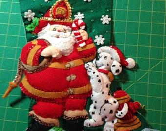Handmade Fireman Felt Christmas Stocking