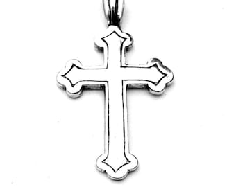 """Sterling Silver Gothic Cross Pendant 1-1/2"""" - 38mm"""