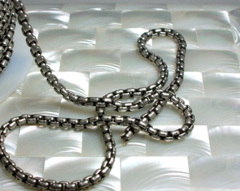1 Foot Chain 4mm Antiqued Silver Plated Box Square Link Brass Chain CLOSED LINK Goth Sturdy Small Jewelry Jewellery Craft Supplies