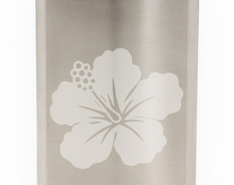 Pretty Budding Flower Etched Hip Flask 8oz