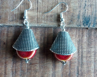 1446 - ethnic style, handcrafted ceramic and metal earrings