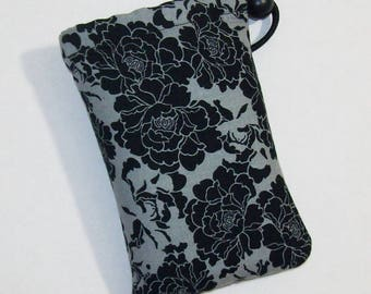 """Padded Pipe Pouch, Black Floral Bag, Glass Pipe Case, Pipe Bag, Girly Flower Bag, Dark Bag, Pipe Cozy, Weed Bag, 420, Stoner - 5"""" DRAWSTRING"""