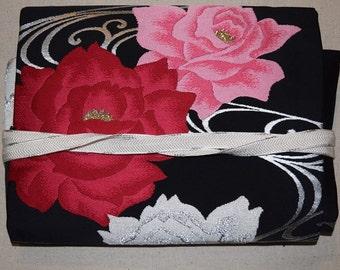 Vintage Japanese Nagoya Obi Belt and Obijime Set - Pink Roses
