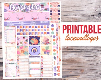 Printable Planner Stickers November Watercolor Treats Monthly Kit for Erin Condren  Glam Planning Month View PDF JPG Fall