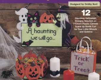 A Haunting We Will Go, Plastic Canvas Pattern Booklet The Needlecraft Shop 203037 Halloween Sign Centerpiece &More