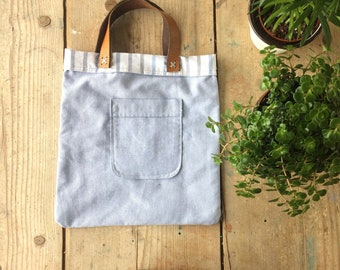 Handmade Recycled Cotton Mini Tote Bag with Leather Handles