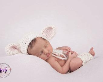 Newborn Lamb Bonnet/ Baby Lamb Bonnet and Legwarmers/ Spring Newborn Prop/ Easter Prop/ Farm Animal Prop/ Animal Bonnet/ Baby Girl Bonnet