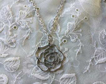 Giant  Silver Flower Necklace.
