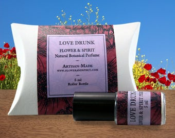 Love Drunk, Organic Botanical Perfume Oil, 100% Natural with Essential Oils, Absolutes and Flower Essences including Rose, Jasmine, Neroli