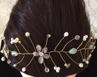 Gold And White Pearl Crystal Hair Vine Headband #1178