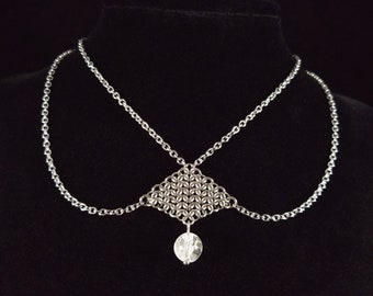 Stainless Steel Chainmaille Choker with Clear Quartz, Chainmail Necklace, Crystal Quartz