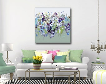 Green Abstract Canvas Print, Floral Giclee Print, Wall Art, Abstract Floral Canvas, Large Green Canvas, Flower Art, Sage Green Purple Blue