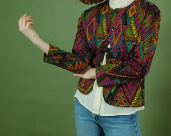 Vintage abstract quilted jacket / Bright Southwestern blazer / Cropped 90s blazer / Vibrant boxy coat / Pink quilted cardigan