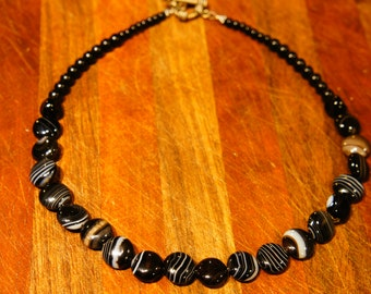 Banded Black and White geode Gemstone Necklace